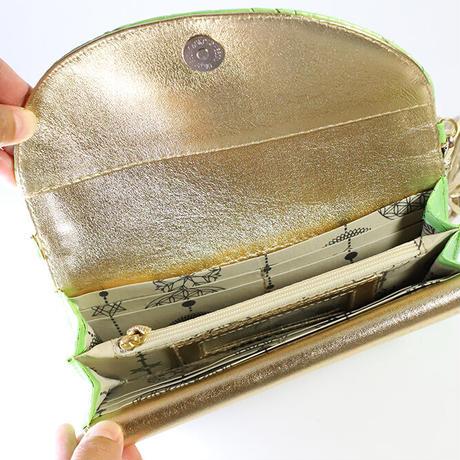メタトロン宇宙財布/ドラゴン財布/パイソン長財布/WF/ラメ入りライムグリーンドラゴン×ゴールド