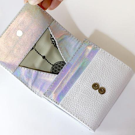 メタトロン宇宙財布/フラワーオブライフ財布/二つ折り財布/MINI/パールホワイト×シルバー