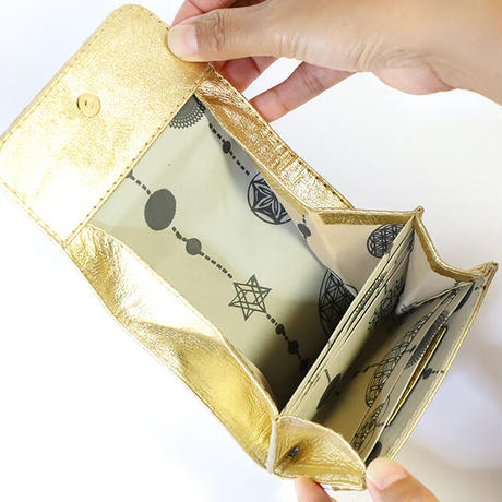 メタトロン宇宙財布/ドラゴン財布/パイソン二つ折り財布/MINI/ホワイトゴールド×ゴールド