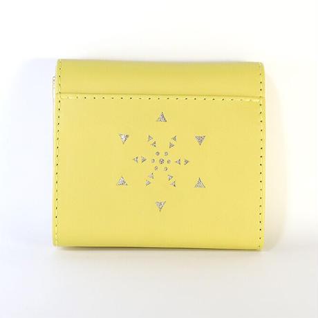 メタトロン宇宙財布/フラワーオブライフ財布/二つ折り財布/MINI/レモンイエロー×ゴールド