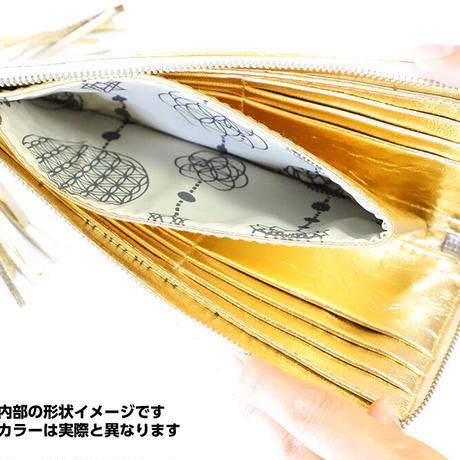 メタトロン宇宙財布/ドラゴン財布/パイソン長財布/LF/ラメ入りライトレモンイエロードラゴン×ゴールド