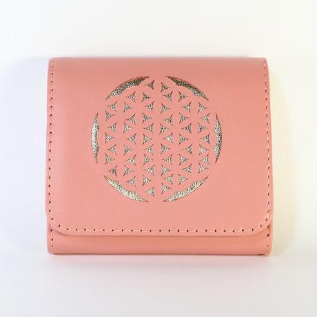 メタトロン宇宙財布/フラワーオブライフ財布/二つ折り財布/MINI/ピンク×ゴールド