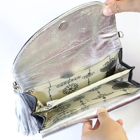 メタトロン宇宙財布/カービングシリーズ/フラワーオブライフ財布/長財布/WF/ブラック×シルバー