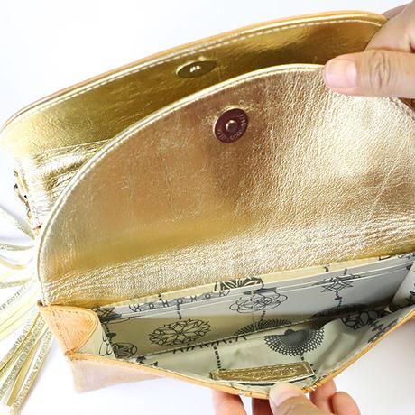 メタトロン宇宙財布/カービングシリーズ/フラワーオブライフ財布/長財布/WF/キャメル×ゴールド