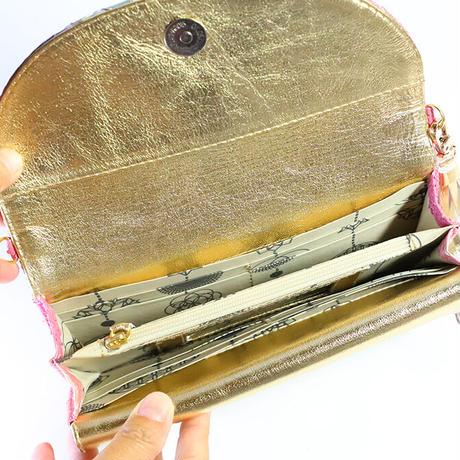 メタトロン宇宙財布/ドラゴン財布/パイソン長財布/WF/ピンクレインボードラゴン×ゴールド