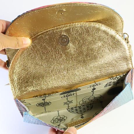 メタトロン宇宙財布/ドラゴン財布/パイソン長財布/WF/ブルーレインボードラゴン×ゴールド