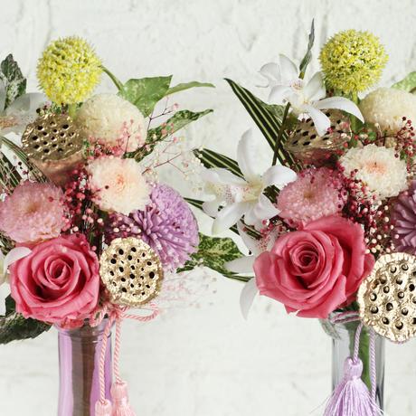 お供え用プリザーブドフラワー花束・タッセルピンク