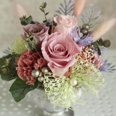 母の日プリザーブドフラワーアレンジメント・シックピンク系大輪バラ