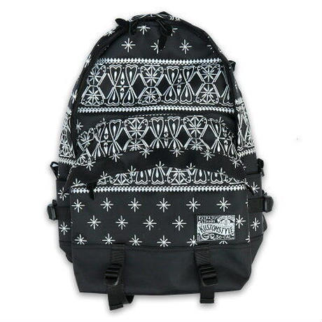 KUSTOMSTYLE  BANDANA BACK PACK BLACK/WHITE EMBROIDARY