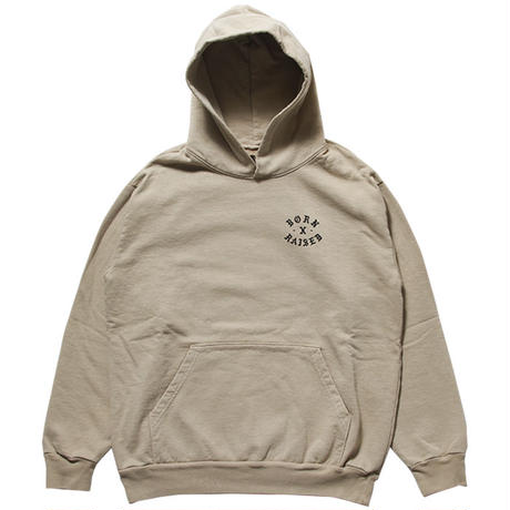 BORN X RAISED BLACK JESUS HOODY KHAKI #34301