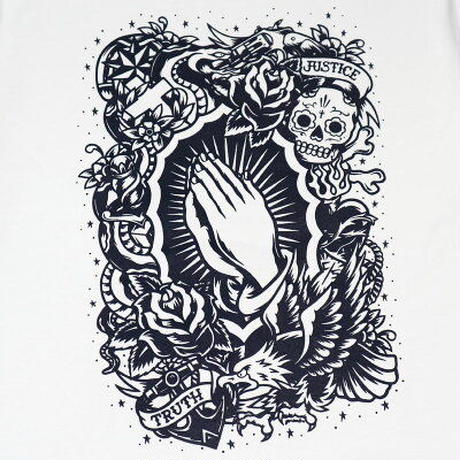 "KUSTOMSTYLE ""PRAYING HANDS"" TEE WHITE"