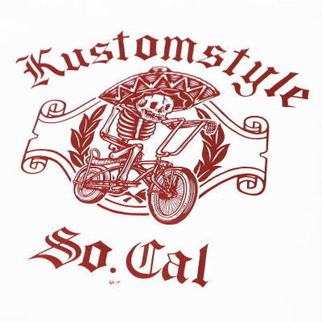 "KUSTOMSTYLE ""LOW RIDER BICYCLE"" TEE WHITE/BURGUNDY"