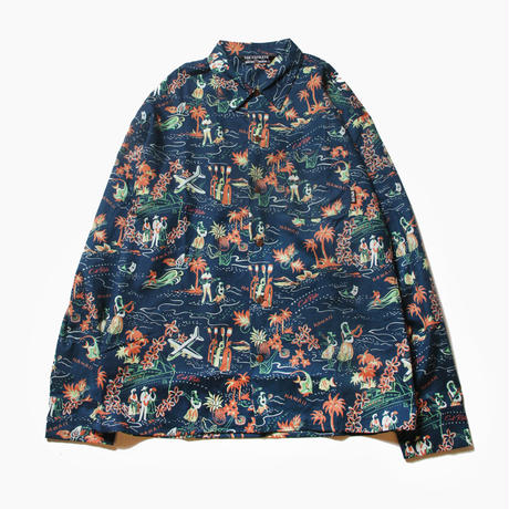 CUTRATE ALLOVER PATTERN L/S SHIRT NAVY
