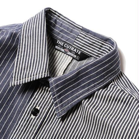 CUT RATE HICKORY STRIPE S/S SHIRT NAVY CR-18SS037