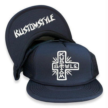 "KUSTOMSTYLE ""TACO MESA CROSS"" FLIP UP MESH CAP NAVY"