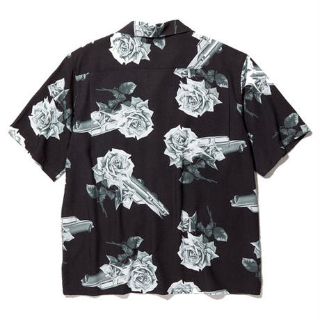 RADIALL CHEVY ROSE - OPEN COLLARED SHIRT S/S BLACK
