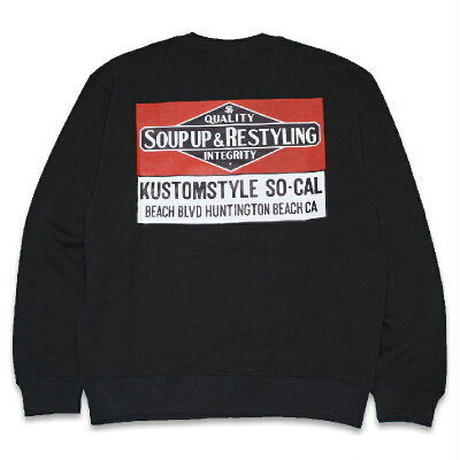 "KUSTOMSTYLE ""SOUP UP&RESTYLING"" CREW NECK BLACK"