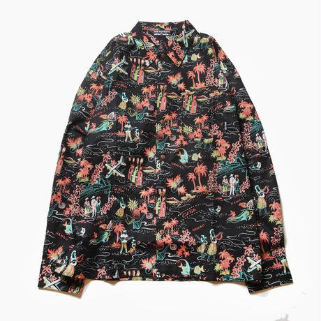 CUTRATE ALLOVER PATTERN L/S SHIRT BLACK
