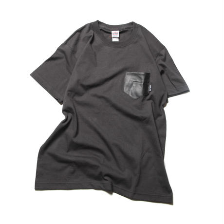 CUTRATE LEATHER POCKET T-SHIRT BLACK