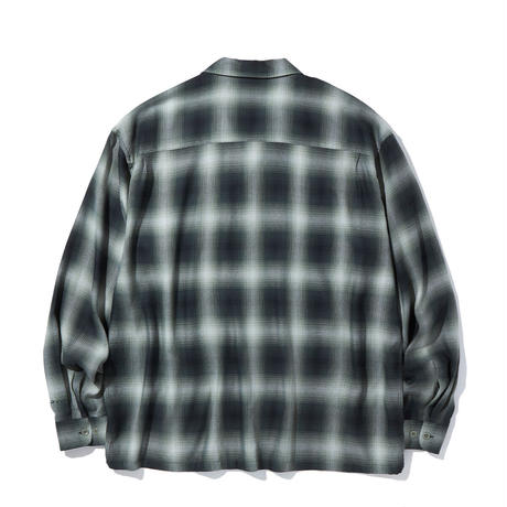 RADIALL LO-N-SLO - OPEN COLLARED SHIRT L/S   F.GREEN