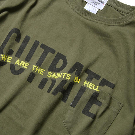 CUTRATE BIG SIZE LOGO POCKET T-SHIRT KHAKI