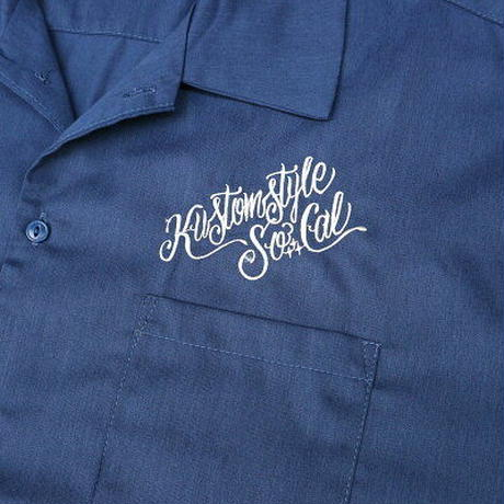 "KUSTOMSTYLE ""CRUISIN DOWN THE STREET"" SHORT SLEEVE WORK SHIRTS NAVY"