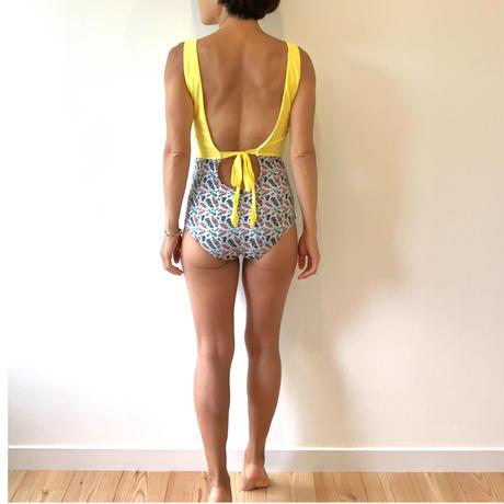 Lemon Yellow x Feather Ribbon One piece
