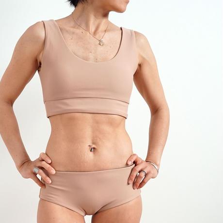 リバーシブル bikiniブラトップ  ミルクティーxブラック