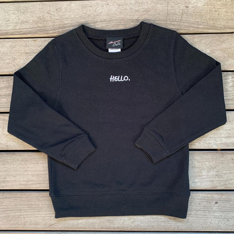 Kids: Hello Crew Neck Black