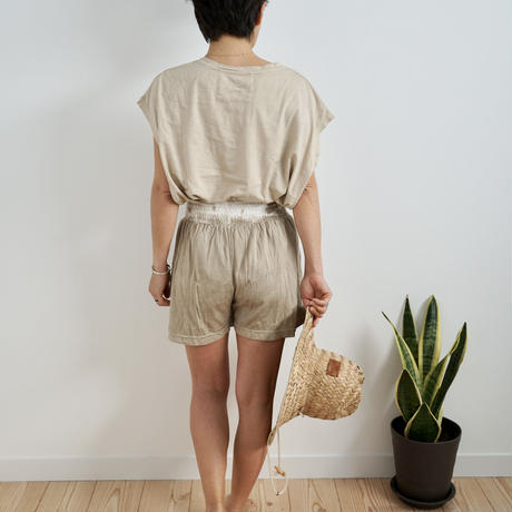 Bamboo Cottonリラックスハイウェストショートパンツ草木染め MilkTea