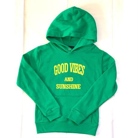 Kids :Good Vibes & Sunshine Hoodie Green