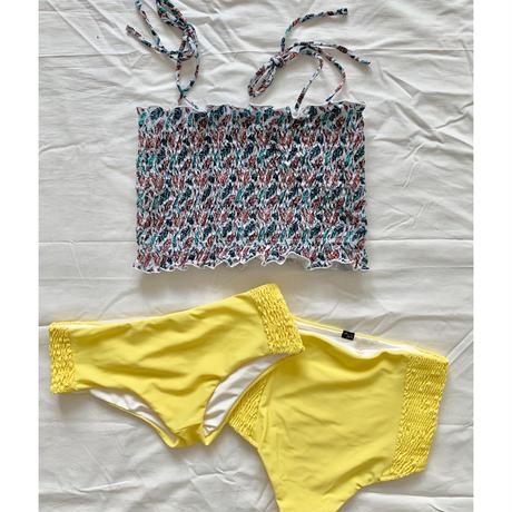 シャーリング bikiniチューブトップ フェザーxレモンイエロー
