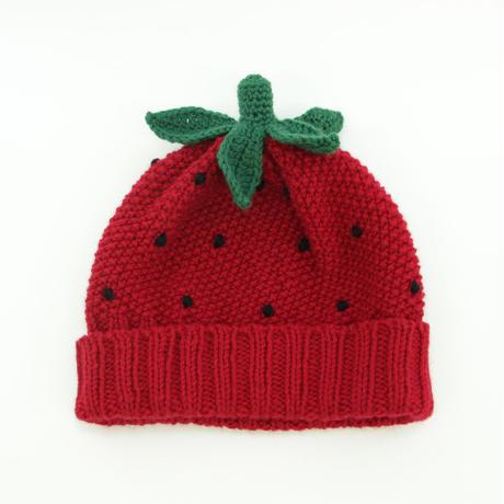 手編みIchigoニット帽セット(ポンポン+ヘタ)