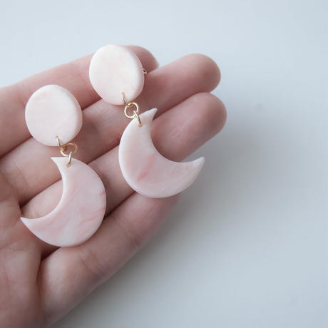 Lack of Geometry Earrings - Waning Moon PINK