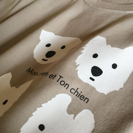 白ワンコ オーガニックコットンTシャツ