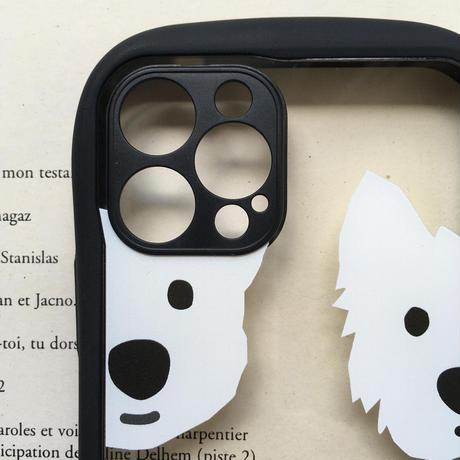 白ワンコグリップケース-カメラレンズカバー付き/  iPhone用