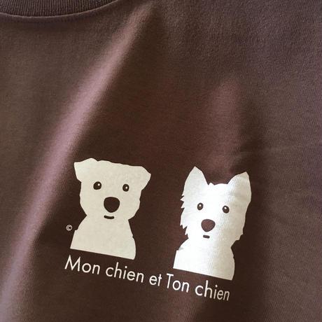 白ワンコ2人 カラー長袖Tシャツ