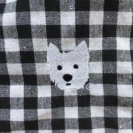 刺繍チェックシャツ モノトーン
