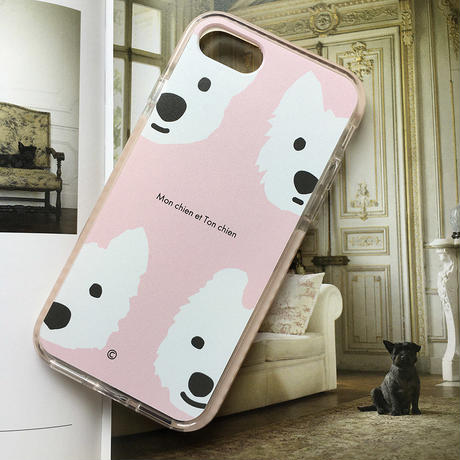 白ワンコ・PinkクッションバンパーケースPink-for iPhone
