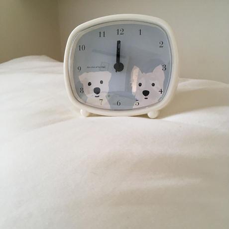 白ワンコ2人 目覚まし時計