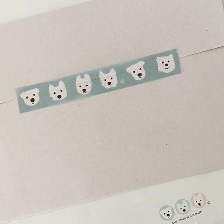 白ワンコ マスキングテープ15mm巾