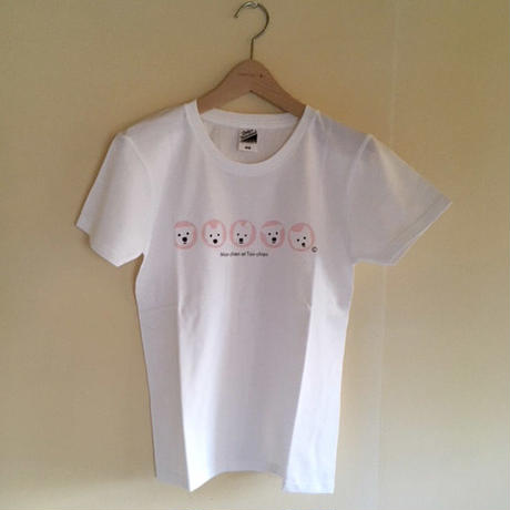 Ladies&ChildTシャツ 5人の白ワンコ Pink