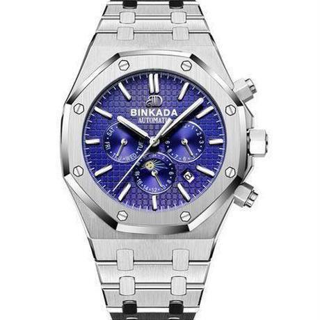 【送料無料】BINKADA 海外高級ブランド輸入腕時計 機械式クロノグラフ コンプリートカレンダー機能 サファイアガラス風防 防水(ブルー)