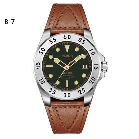 Parnis(パーニス ) メンズ 機械式腕時計 防水 カジュアルレザー/B7