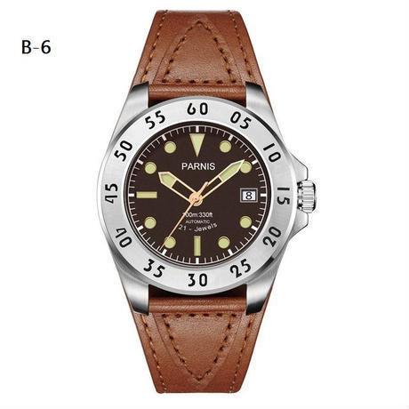 Parnis(パーニス ) メンズ 機械式腕時計 防水 カジュアルレザー/B6