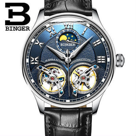 BINGER 腕時計 トゥールビヨン 機械式 防水 サファイアクリスタル 革 メンズ/ブルー