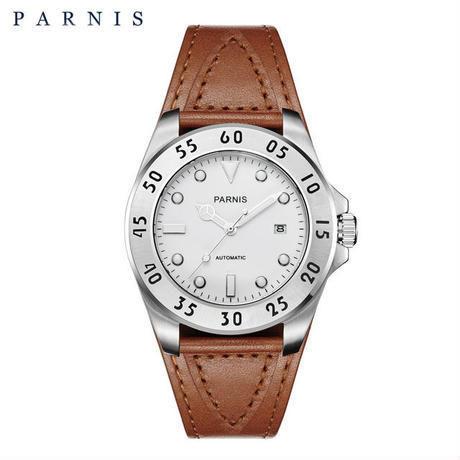 Parnis(パーニス ) メンズ 機械式腕時計 防水 カジュアルレザー/ホワイト