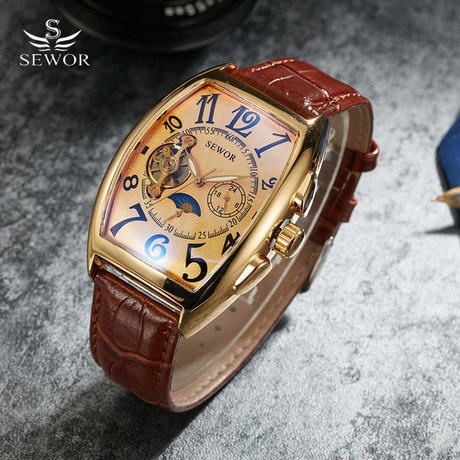 Sewor トノー機械式腕時計 トゥールビヨン腕時計 ムーンフェイズカレンダービジネスドレス古典時計
