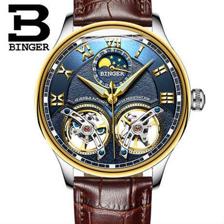 BINGER 腕時計 トゥールビヨン 機械式 防水 サファイアクリスタル 革 メンズ/ゴールド×ブルー