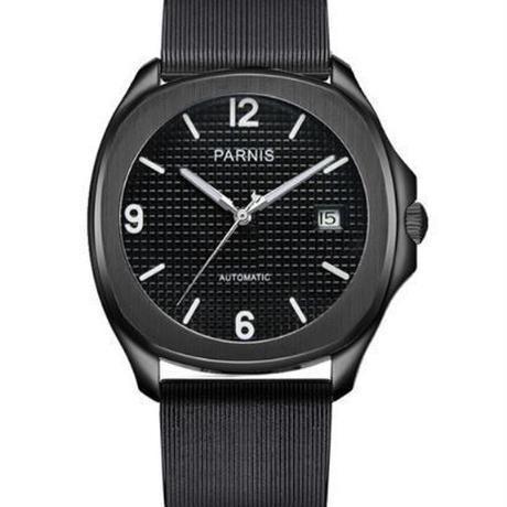 【送料無料】Parnis 自動巻き 機械式腕時計 メンズ レザー スケルトン(ルビーブラック)